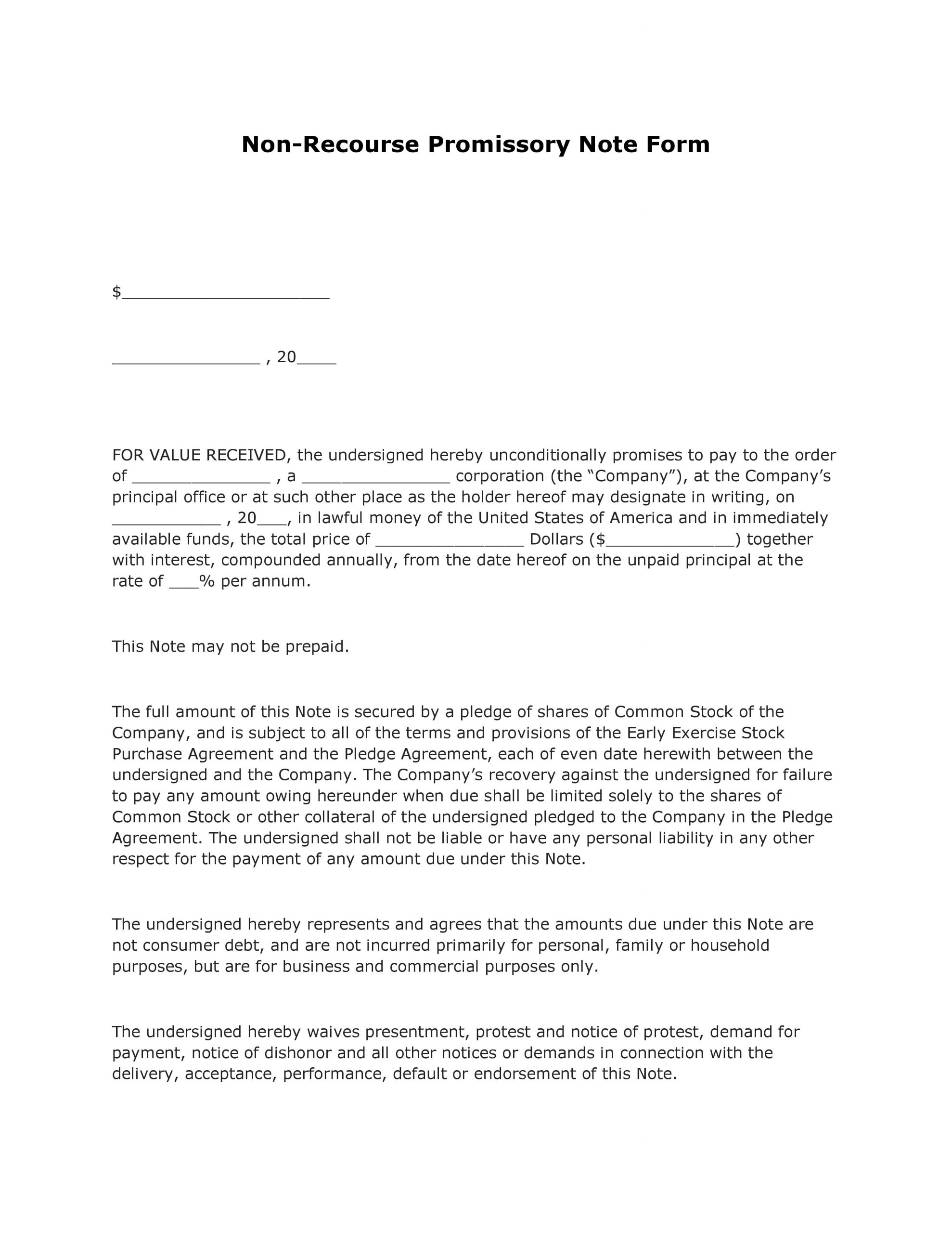Blank Promissory Note Template