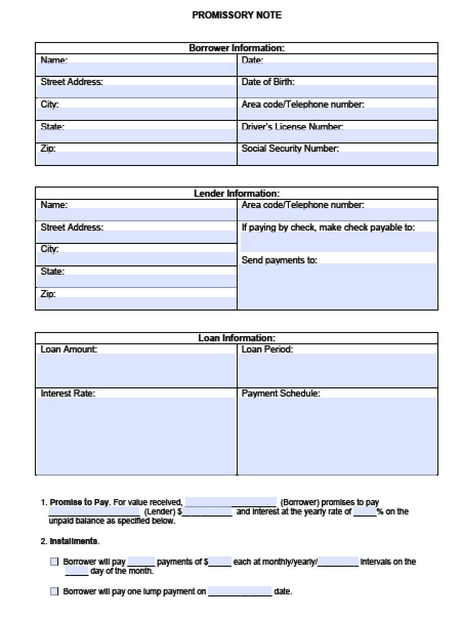 Download Blank Promissory Note Template