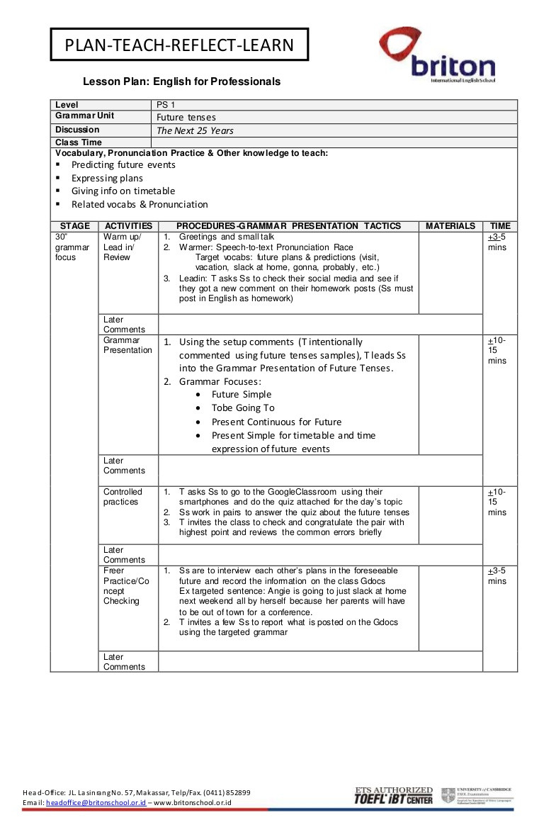 Block Lesson Plan Template