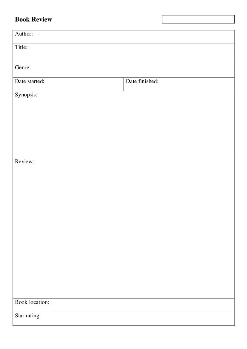 Book Review Template Pdf