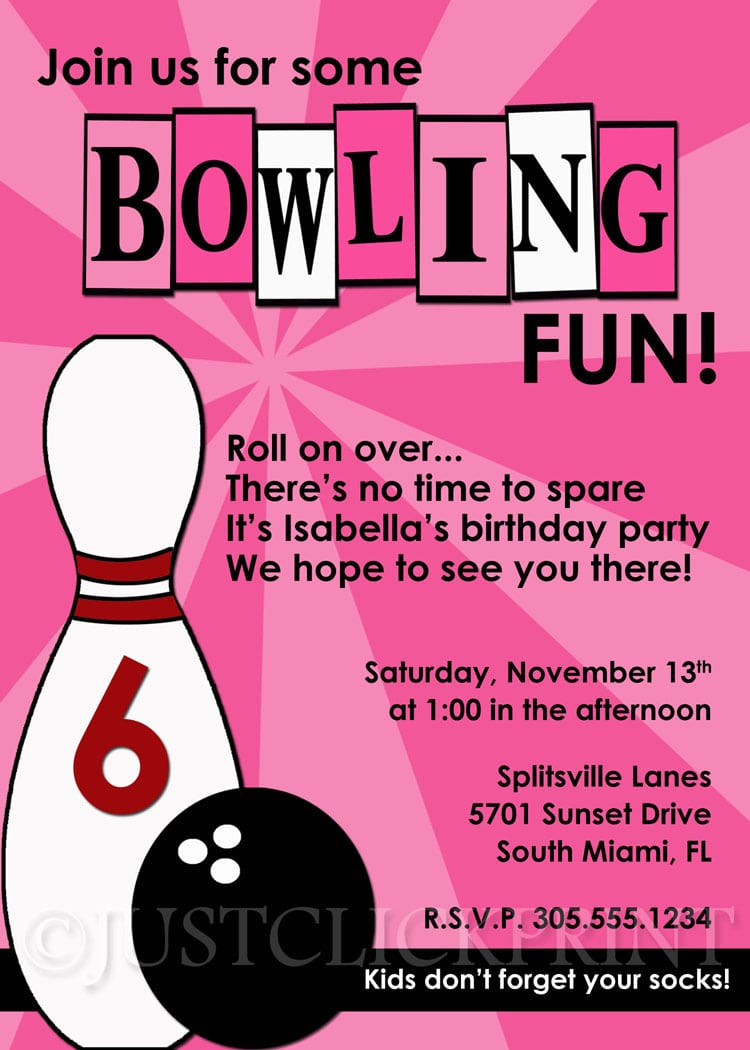 Bowling Party Invite Template