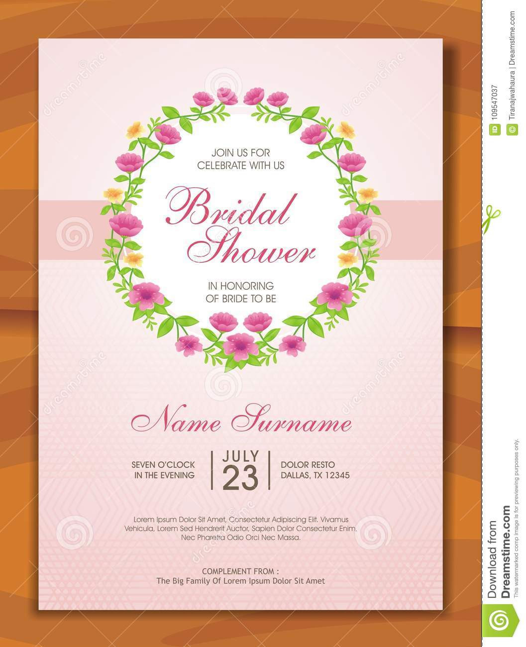 Bridal Shower Menu Template