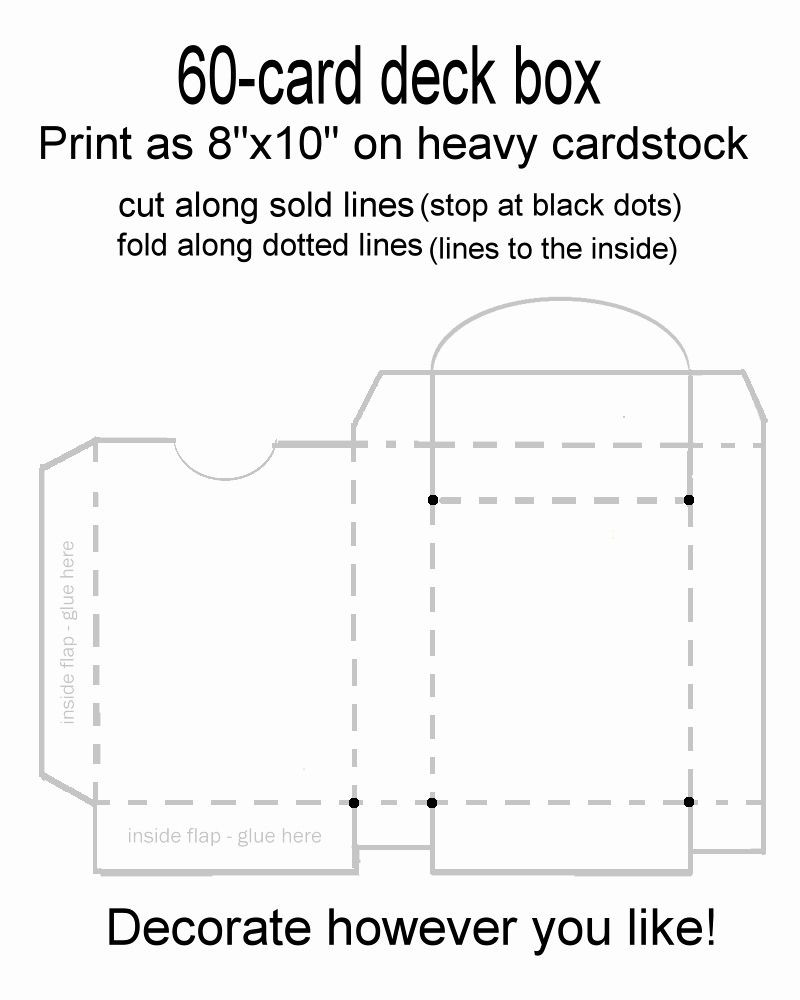 Cardboard Box Template Generator Inspirational 60 Card Deck