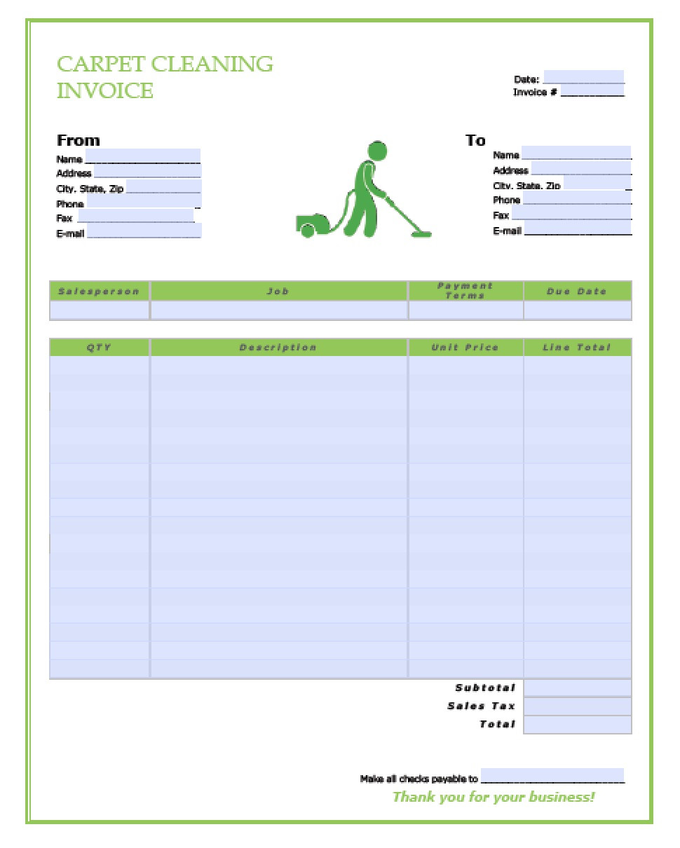 Free Carpet Cleaning Service Invoice Template PDF
