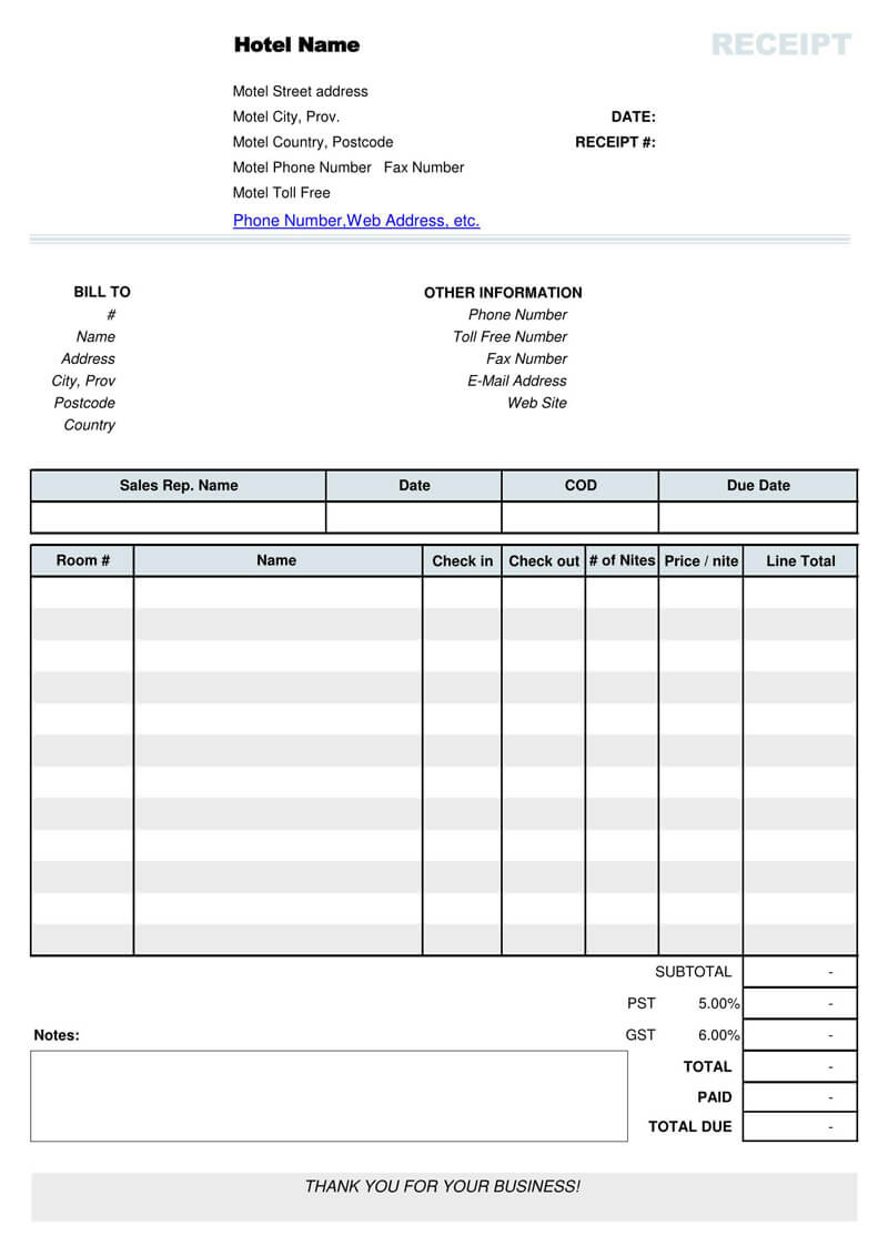 Cash Receipt Template Pdf
