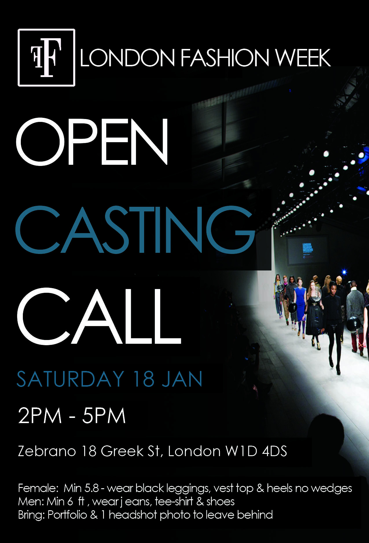 CASTING CALL OPPORTUNITY FOR MALE AND FEMALE MODELS TO WALK
