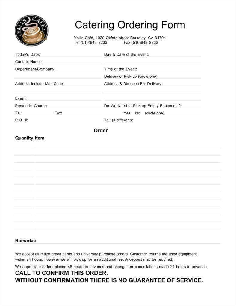 Catering order forms Template