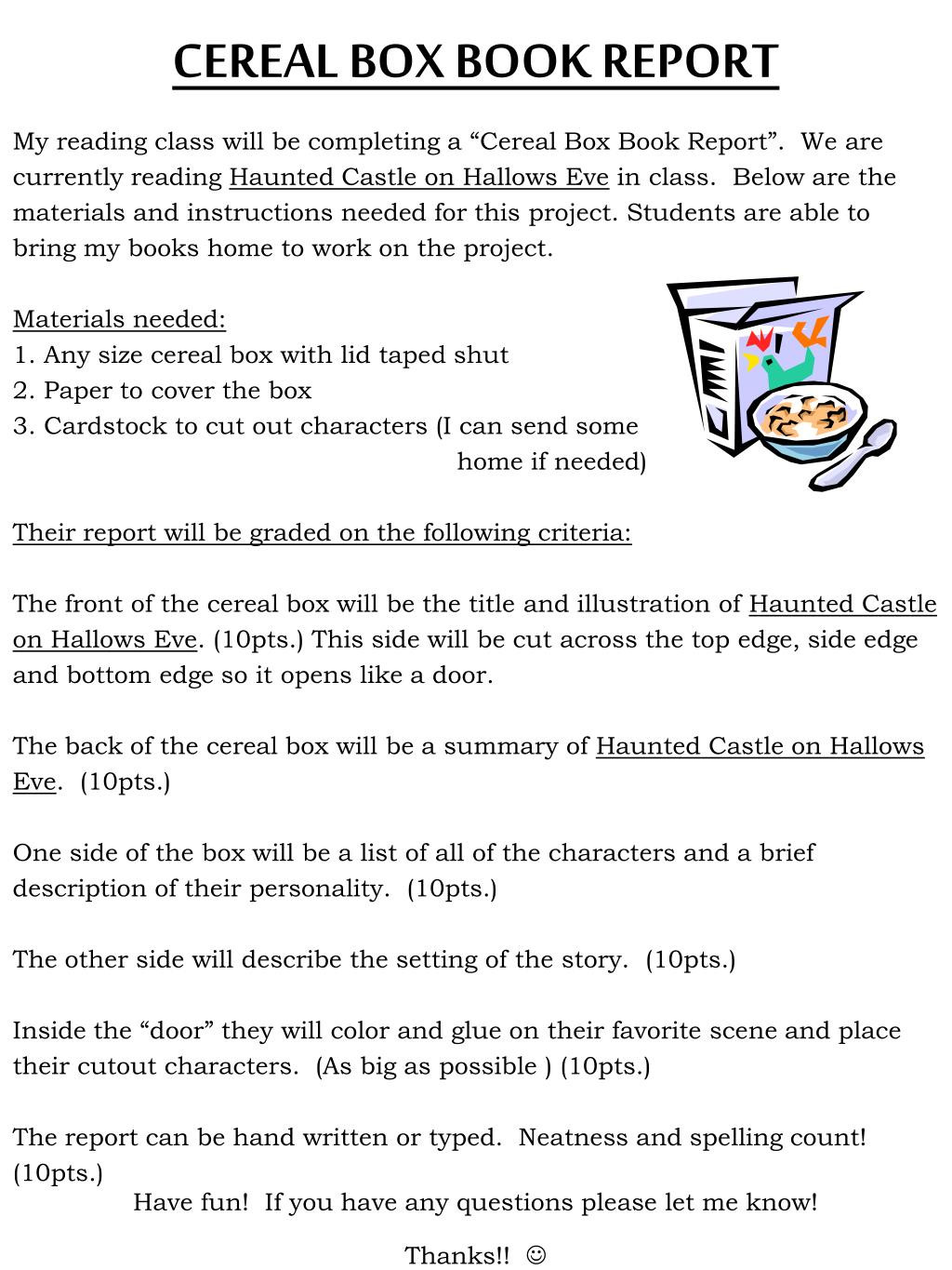 Cereal Box Project Template