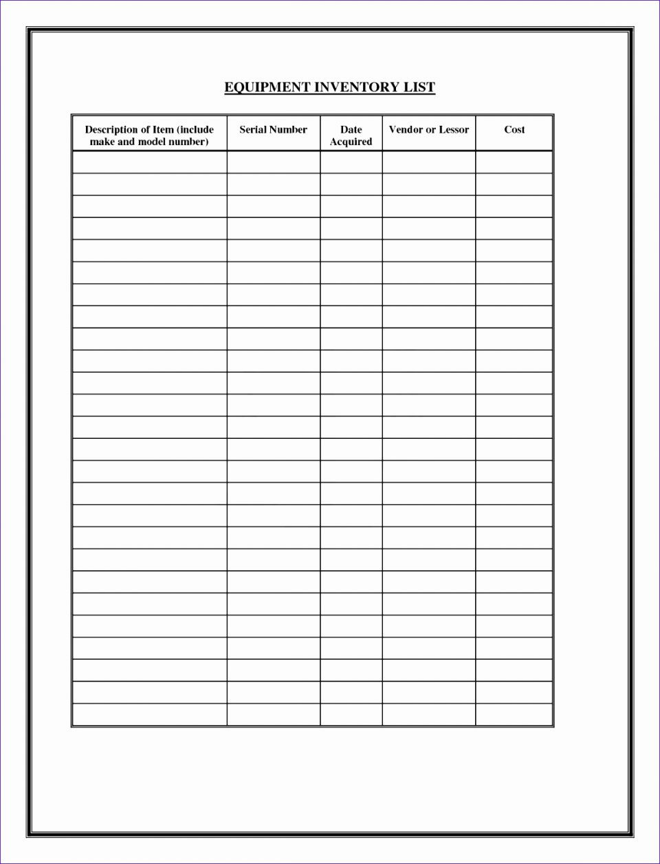 Check Off List Template