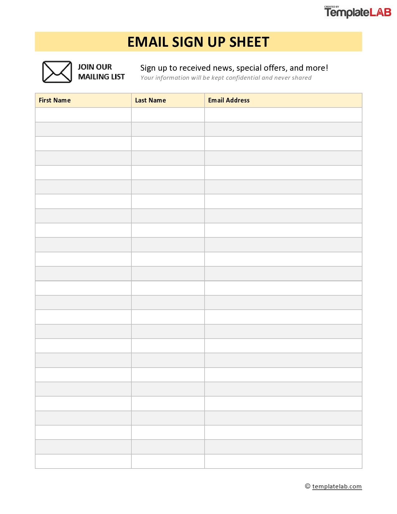 Check Out Sheet Template