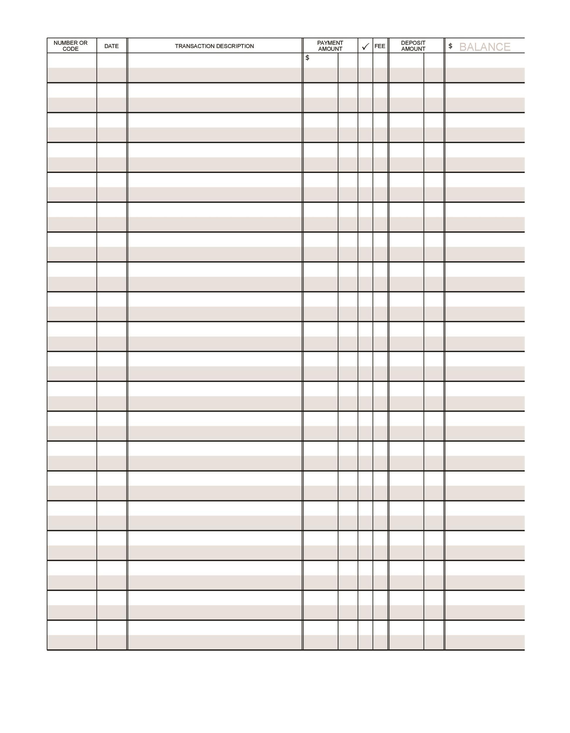 Check Register Template Excel