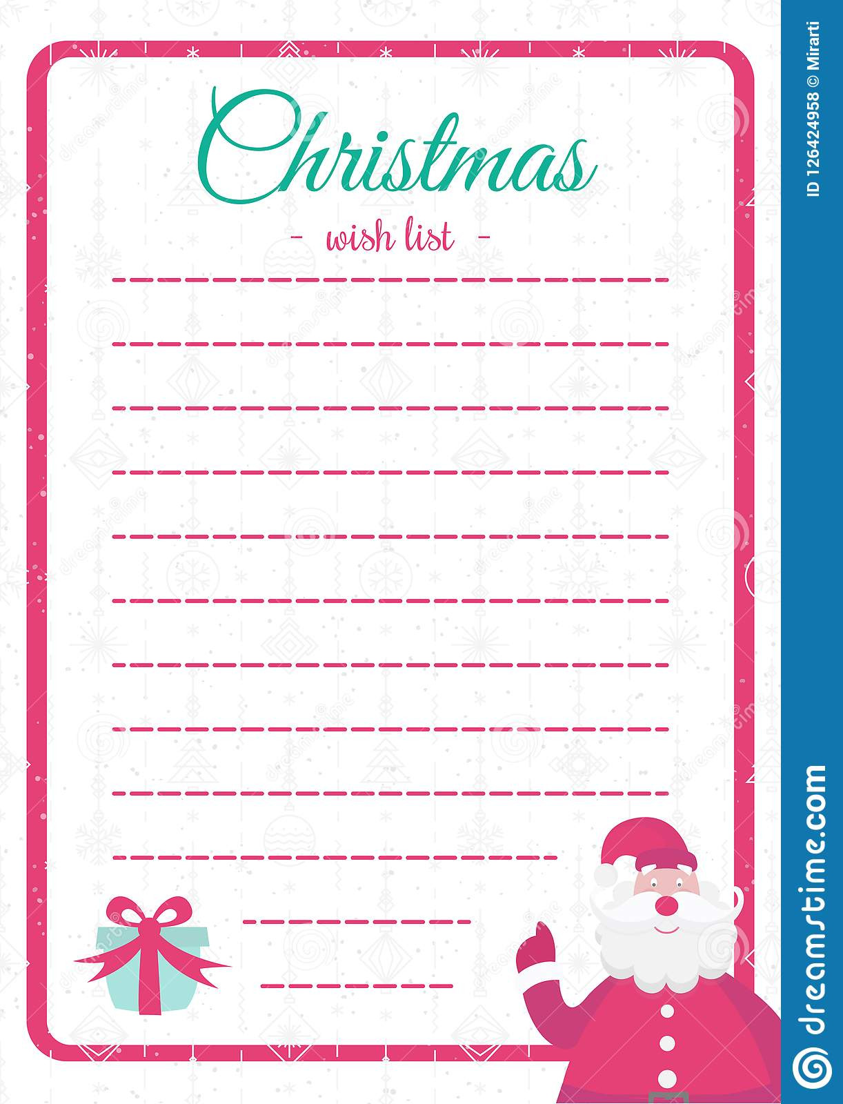 Christmas List Template Free