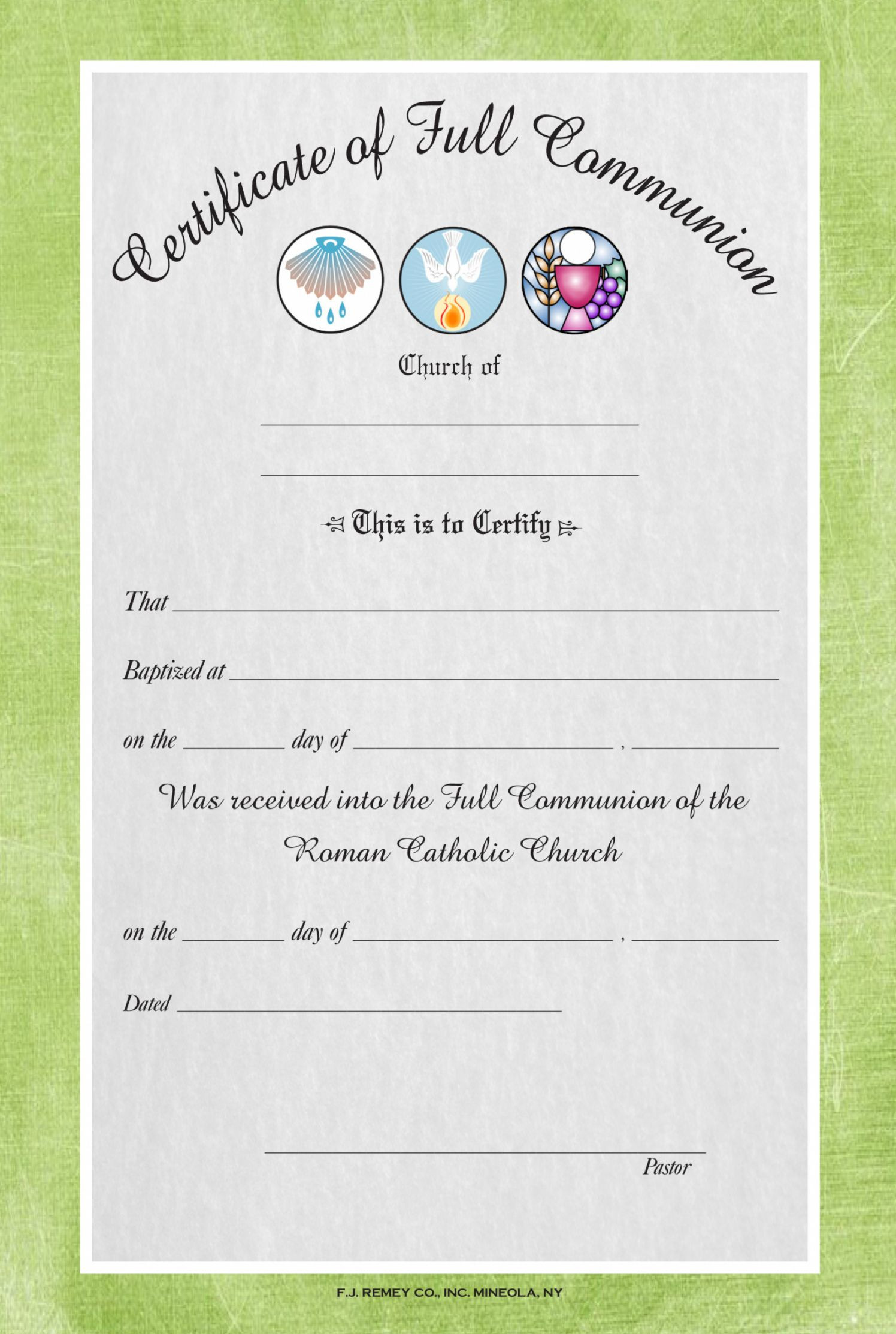 Church Membership Certificate Template