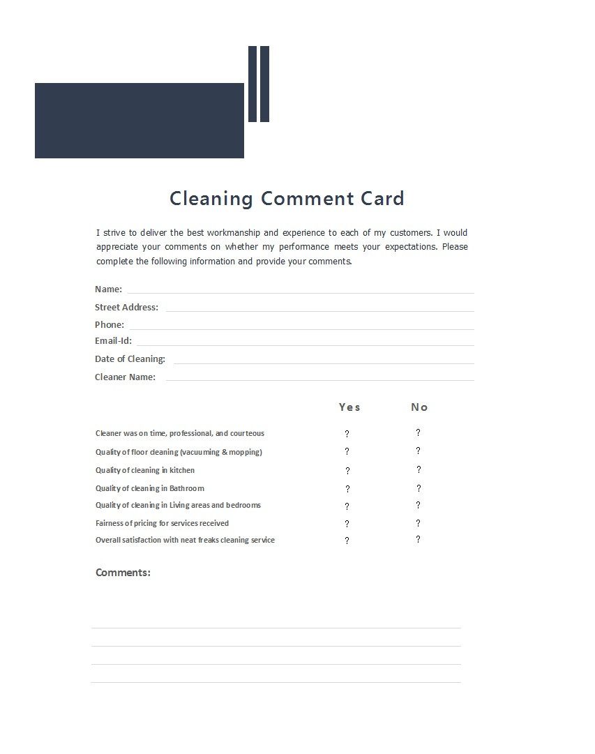 Comment Card Template Word