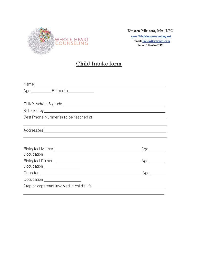 Counseling Intake form Template