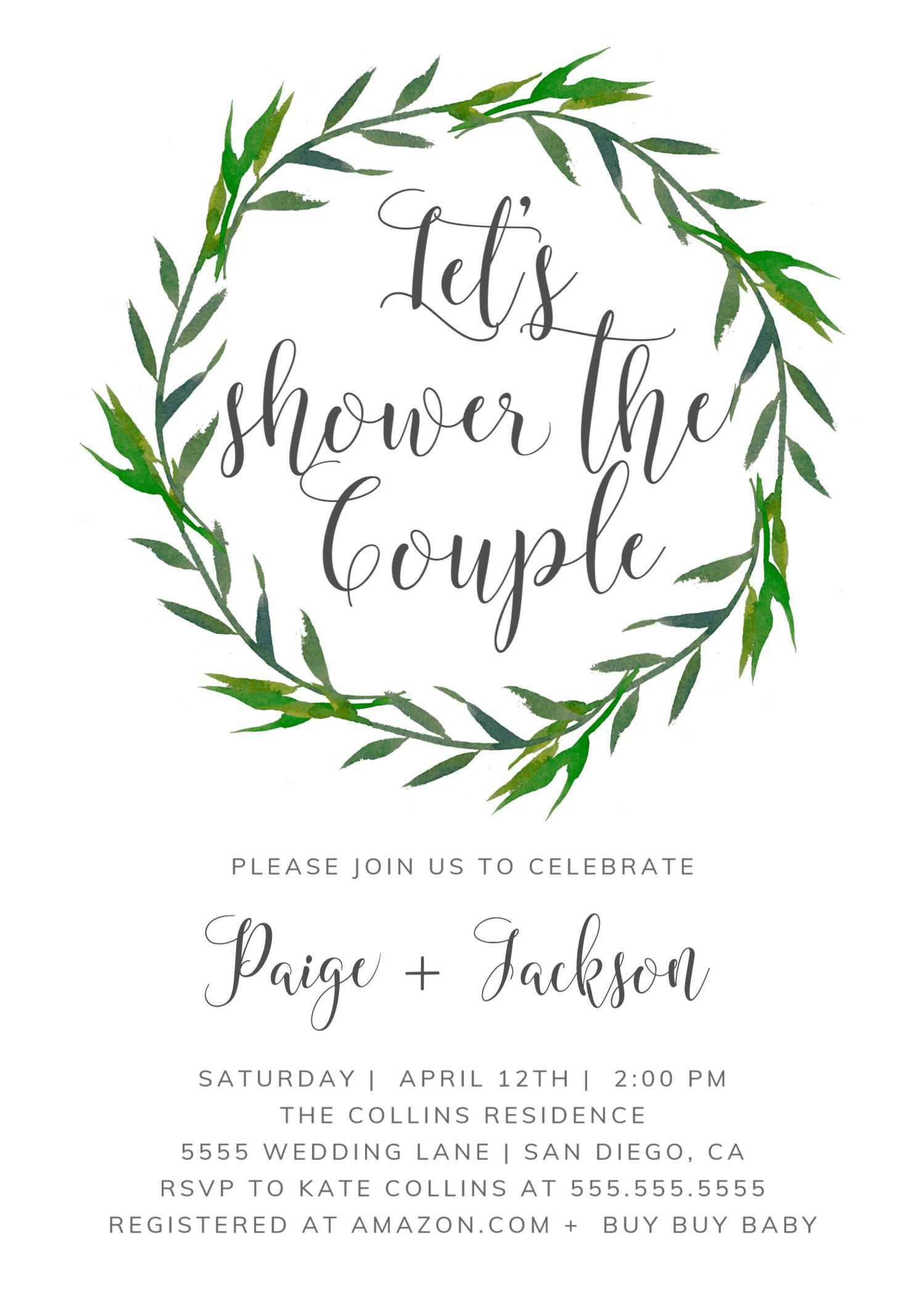 Wedding Shower Invitation Greenery Couples Shower Invite