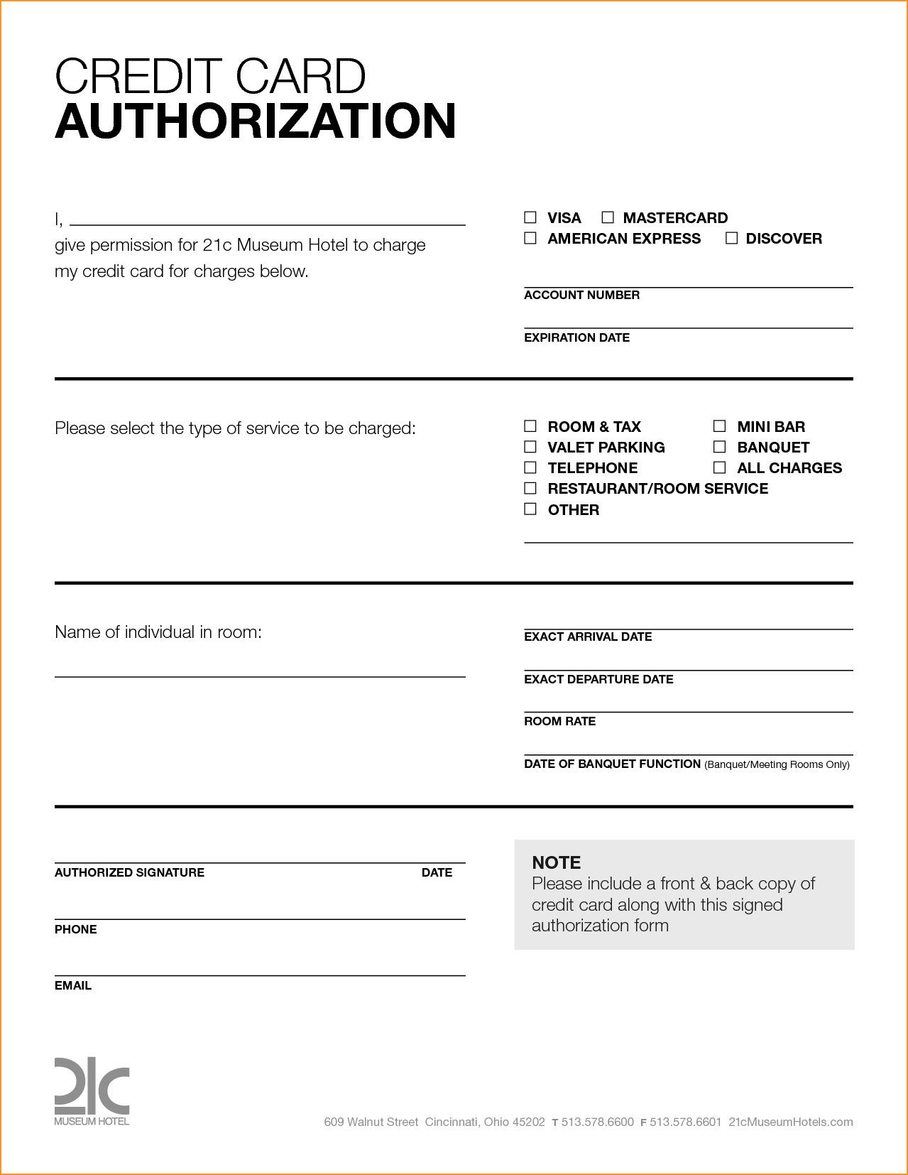 Free Printable Credit Card Authorization Form Blank Pin in