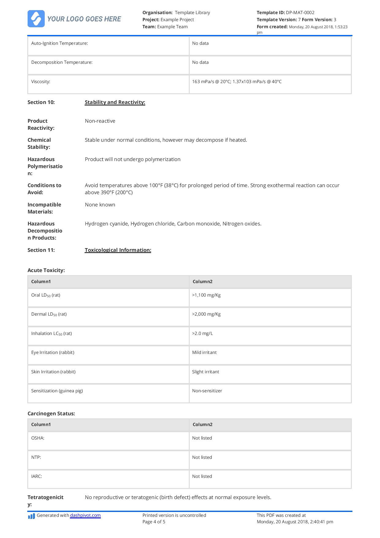 Data Collection Sheet Template