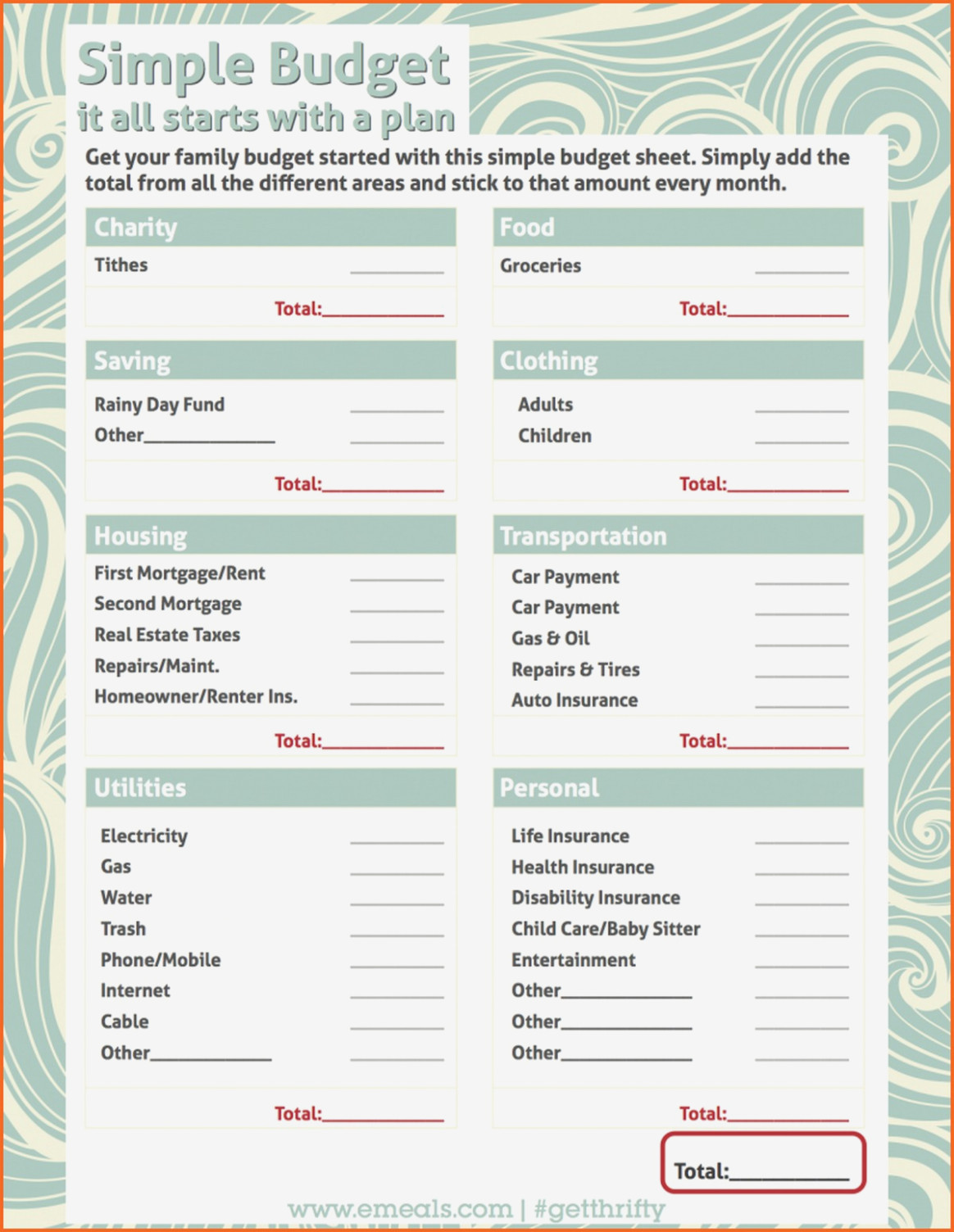 Dave Ramsey Budget Template