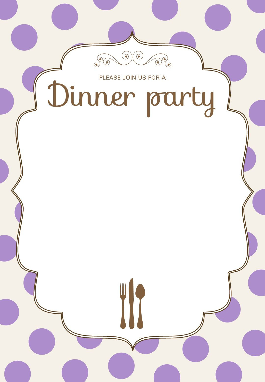 Classic Dinner Party Dinner Party Invitation Template