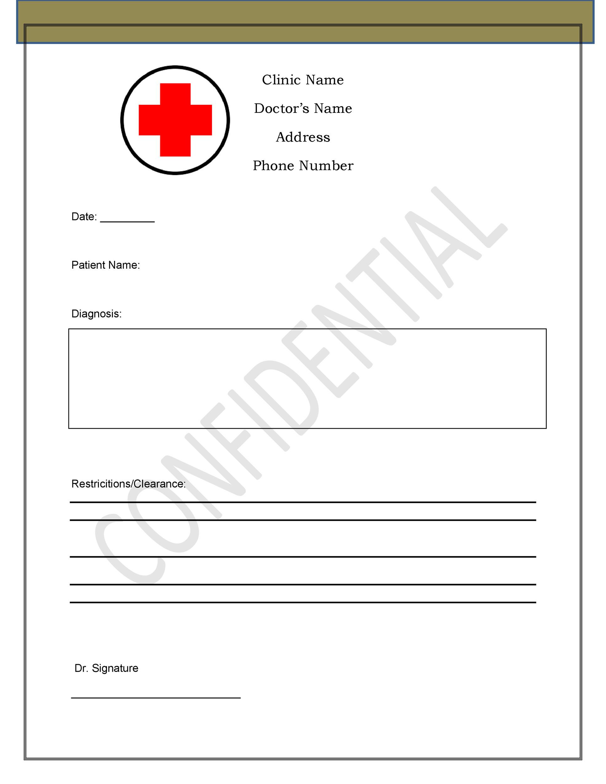Emergency Room Excuse Template