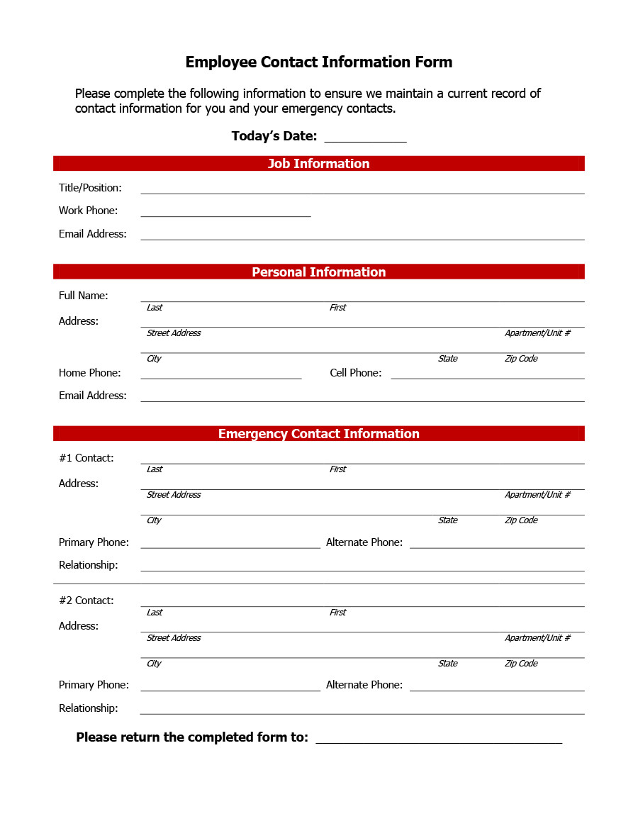 Employment Information form Template
