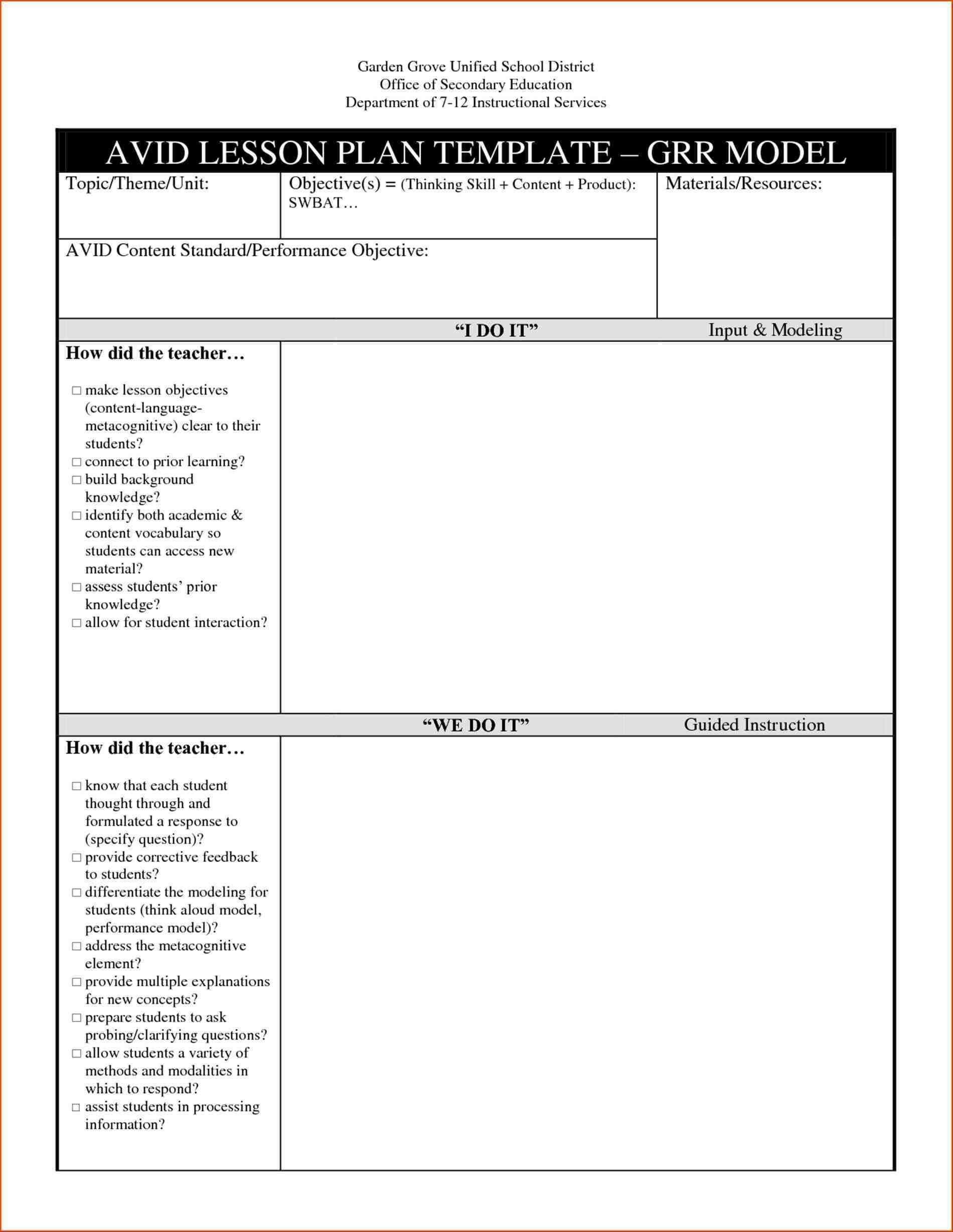 Esl Lesson Plan Template Word