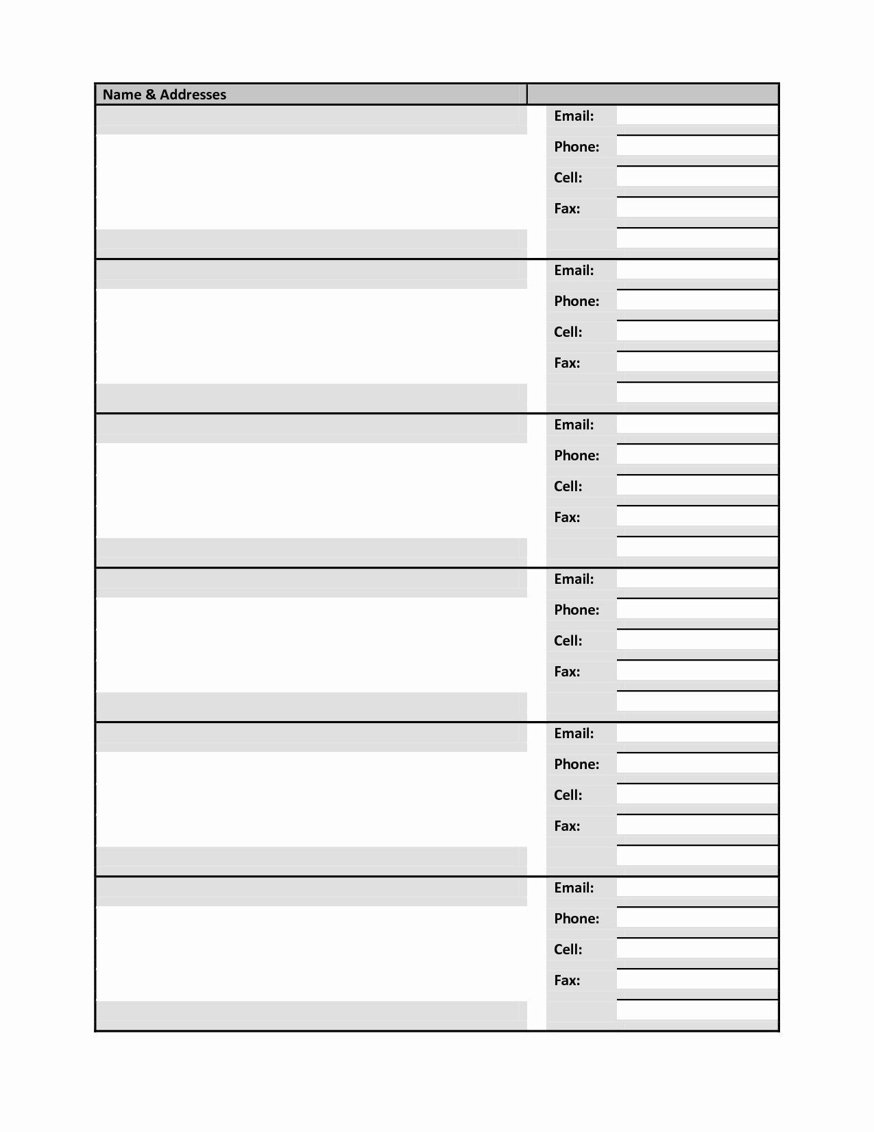 Excel Address Book Template