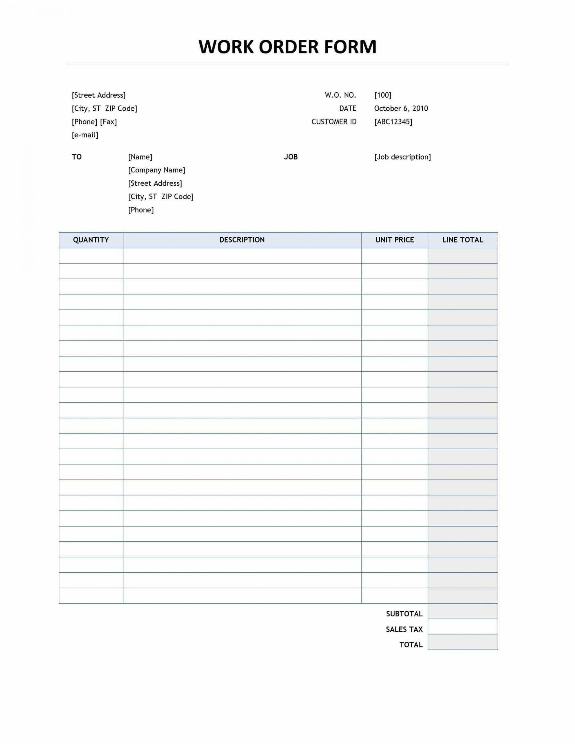 Excel Work order Template