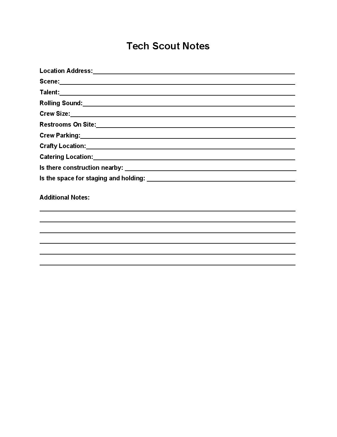 Film Crew List Template