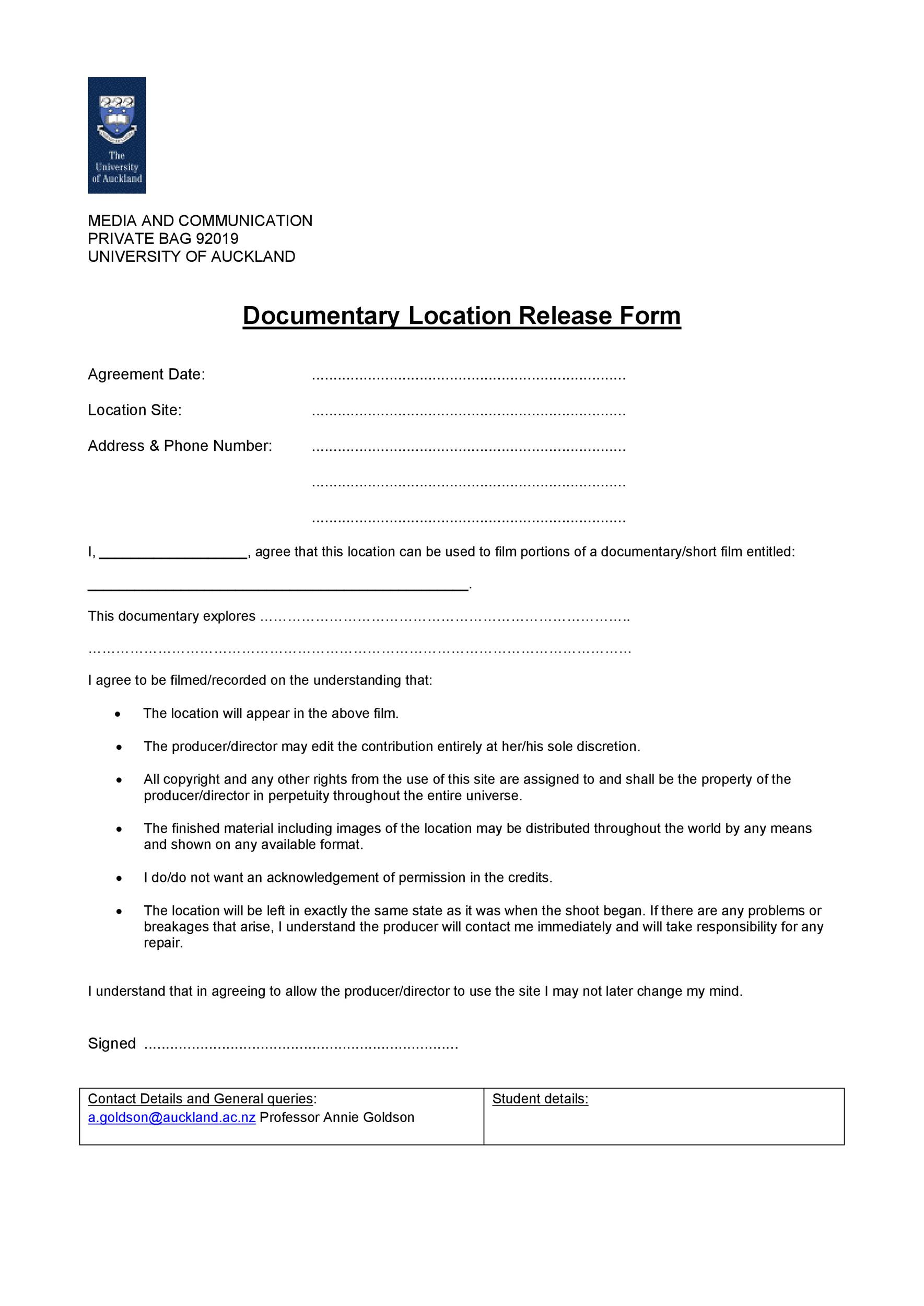 Film Release form Template