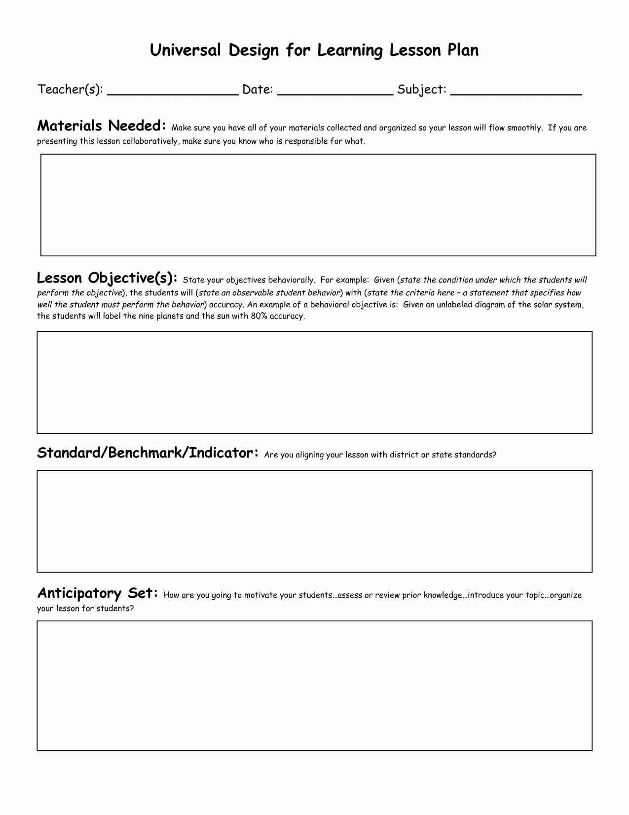 Florida Lesson Plan Template