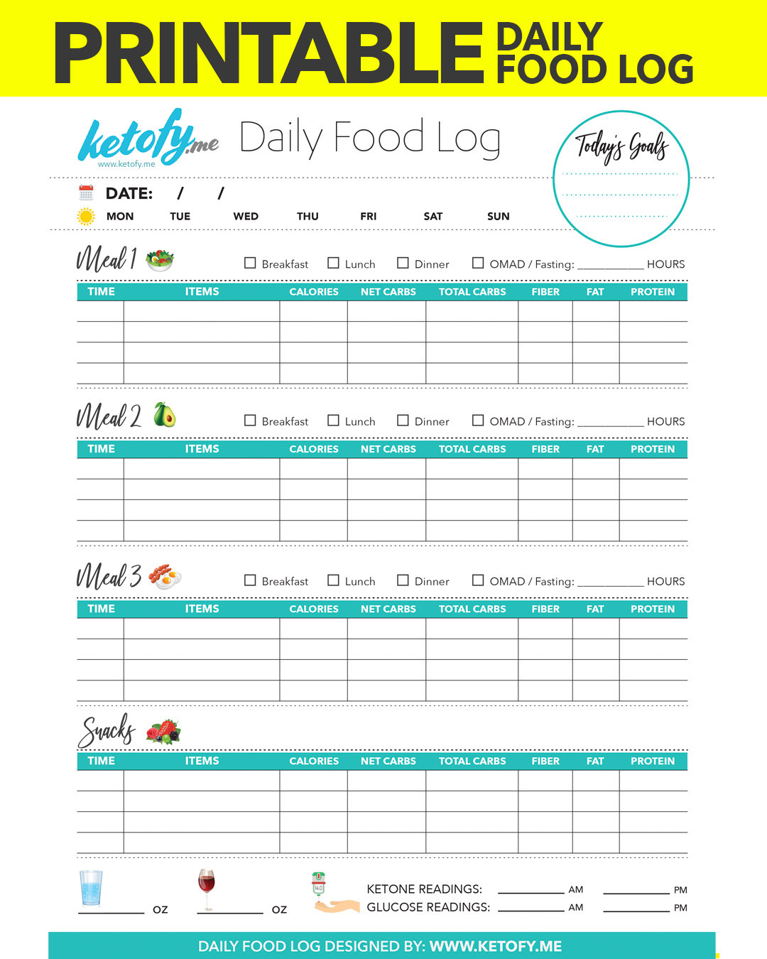 Food Diary Template Excel