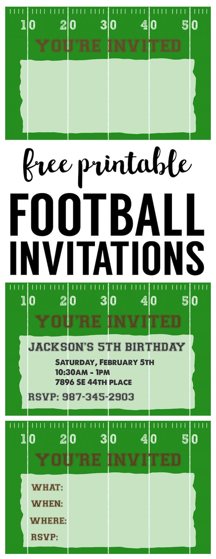 Football Party Invitation Template Free Printable football