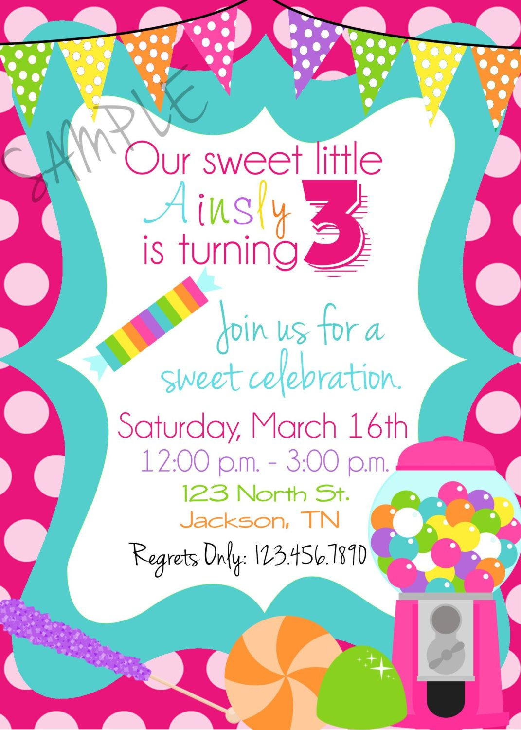 Free Candyland Invitation Template
