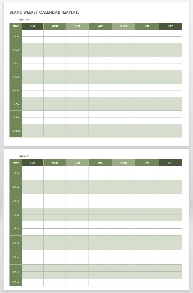 Free Hourly Schedule Template