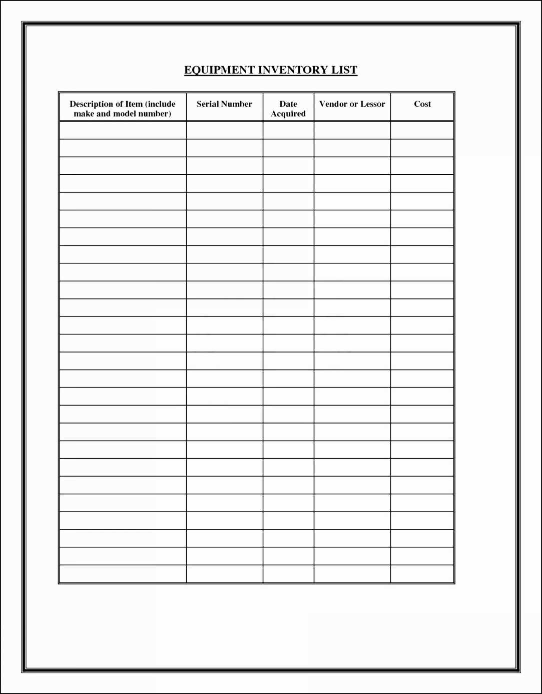 Free Inventory Spreadsheet Template