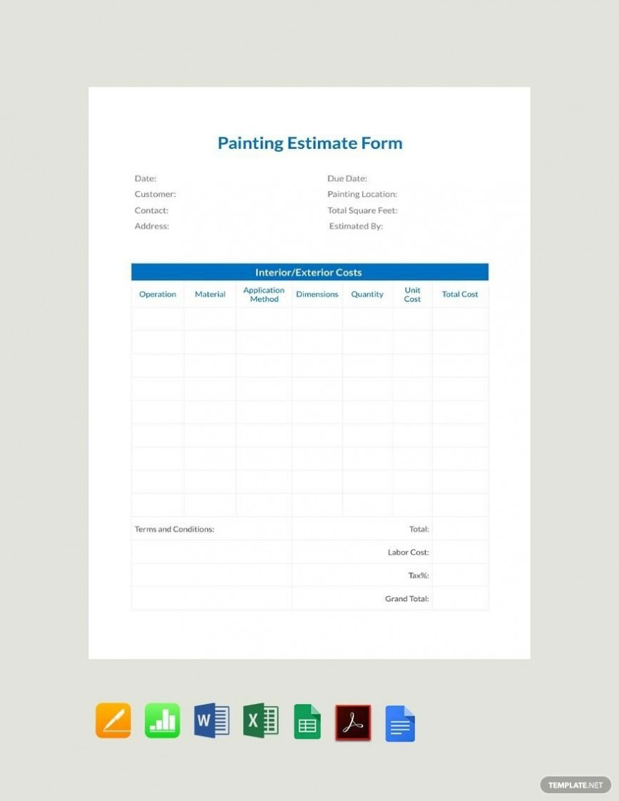 Free Painting Estimate Template