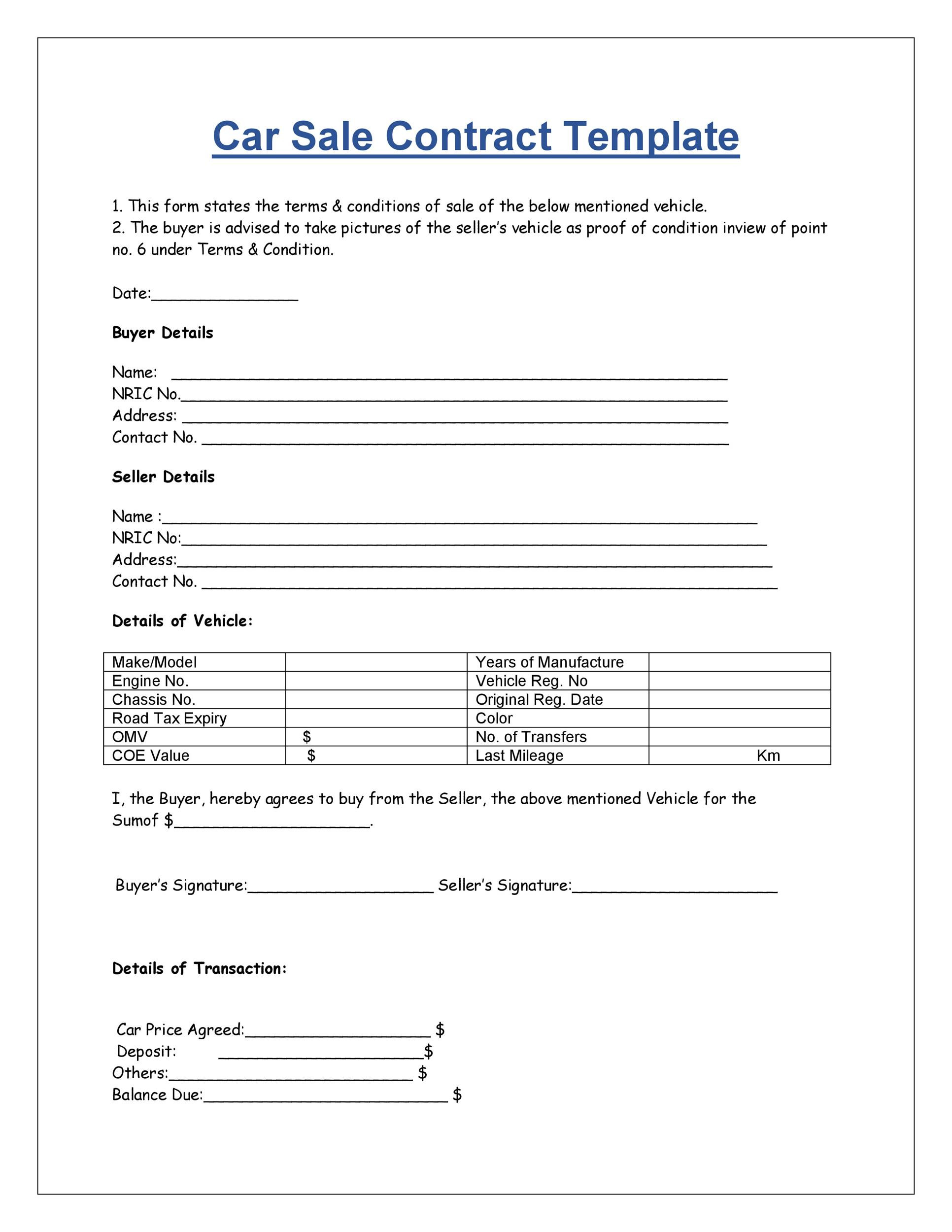 Free Purchase Agreement Template