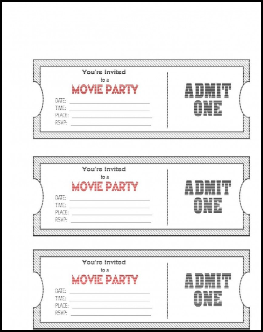 Free Ticket Template Word