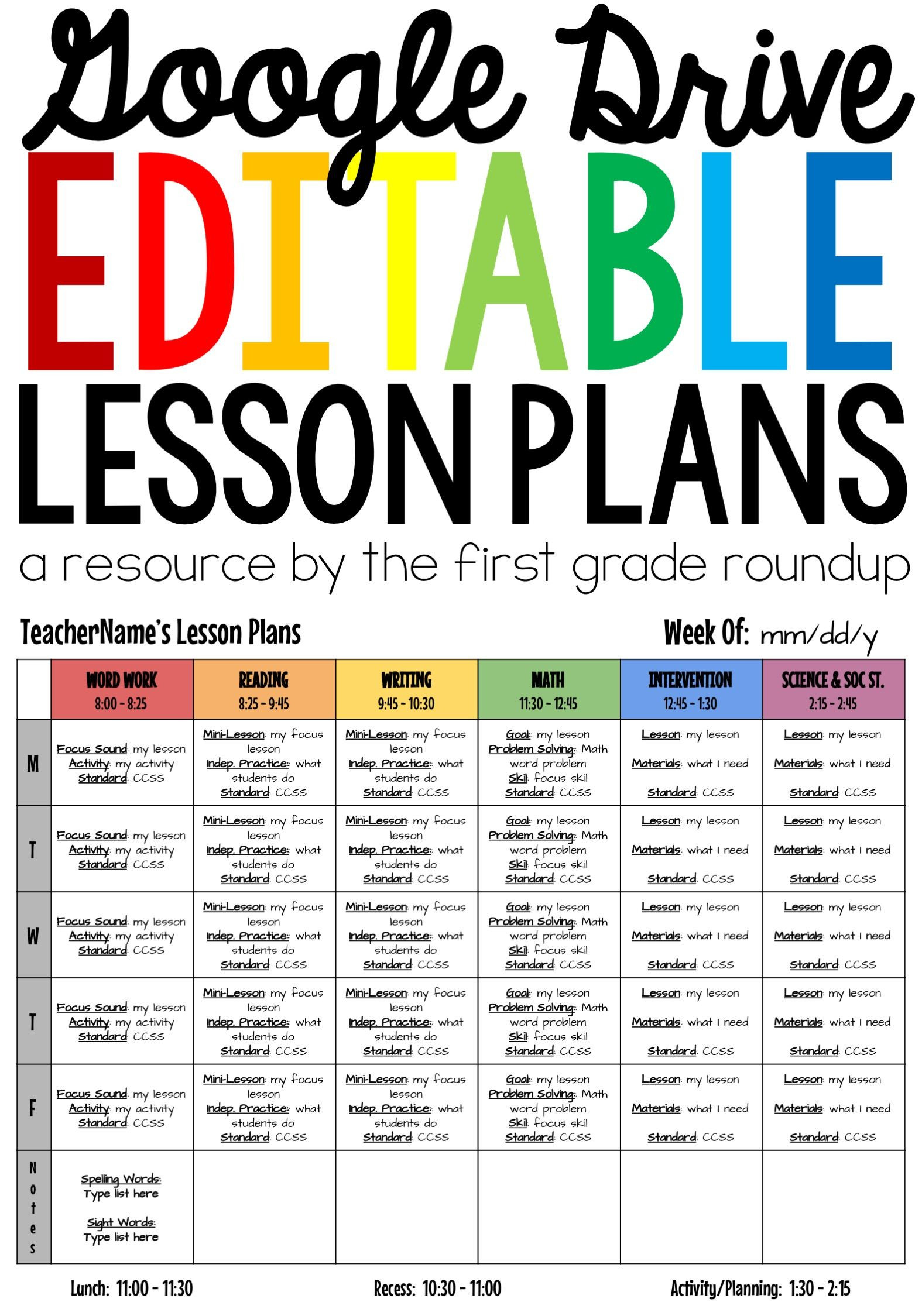 Lesson Plan Templates EDITABLE patible with Google Drive