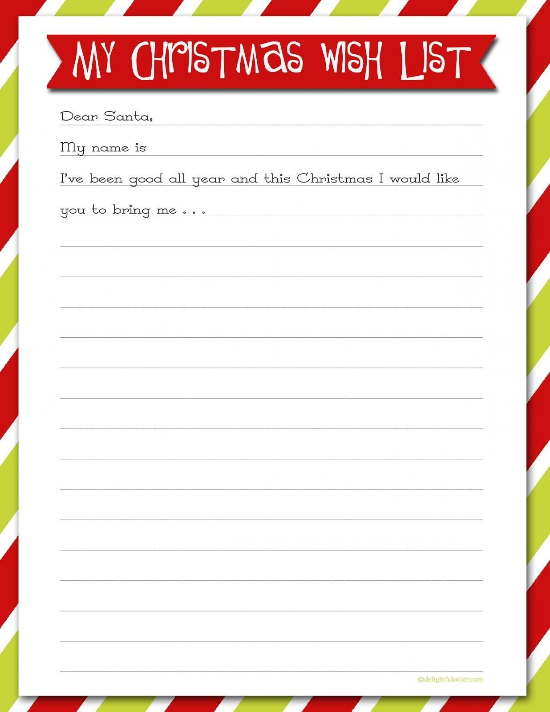 Holiday Wish List Template