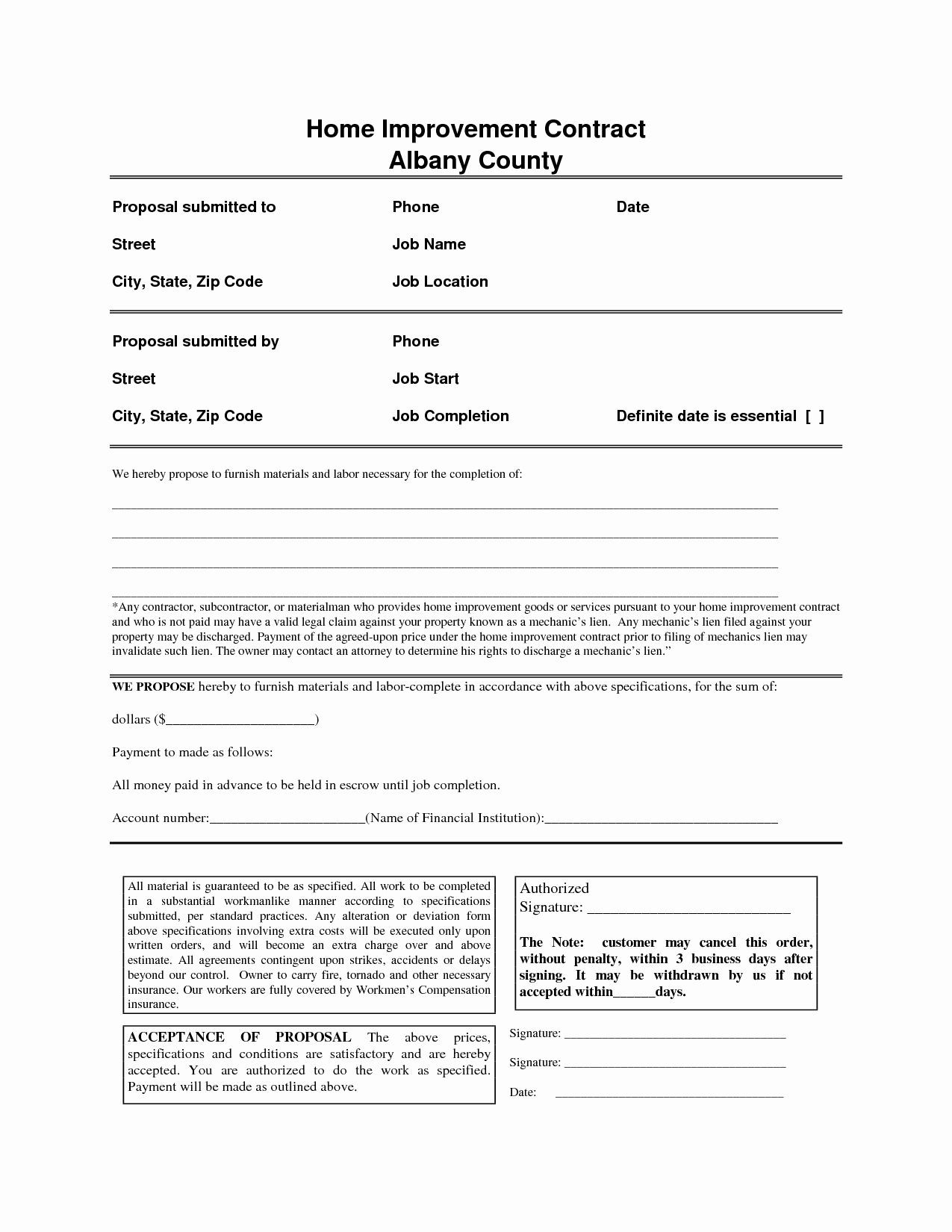 Home Remodeling Contract Template