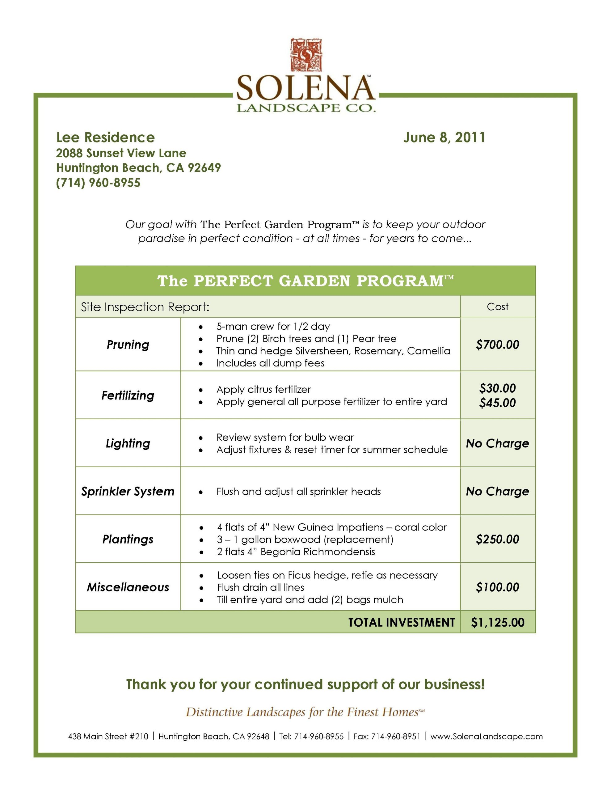 Landscaping Estimate Template Free
