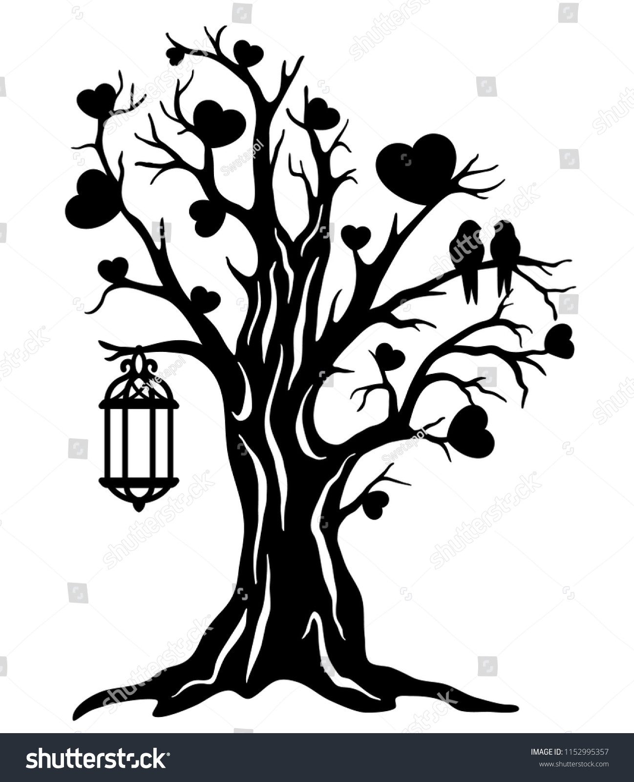 Laser Cut Template Tree Love Couple Stock Vector Royalty