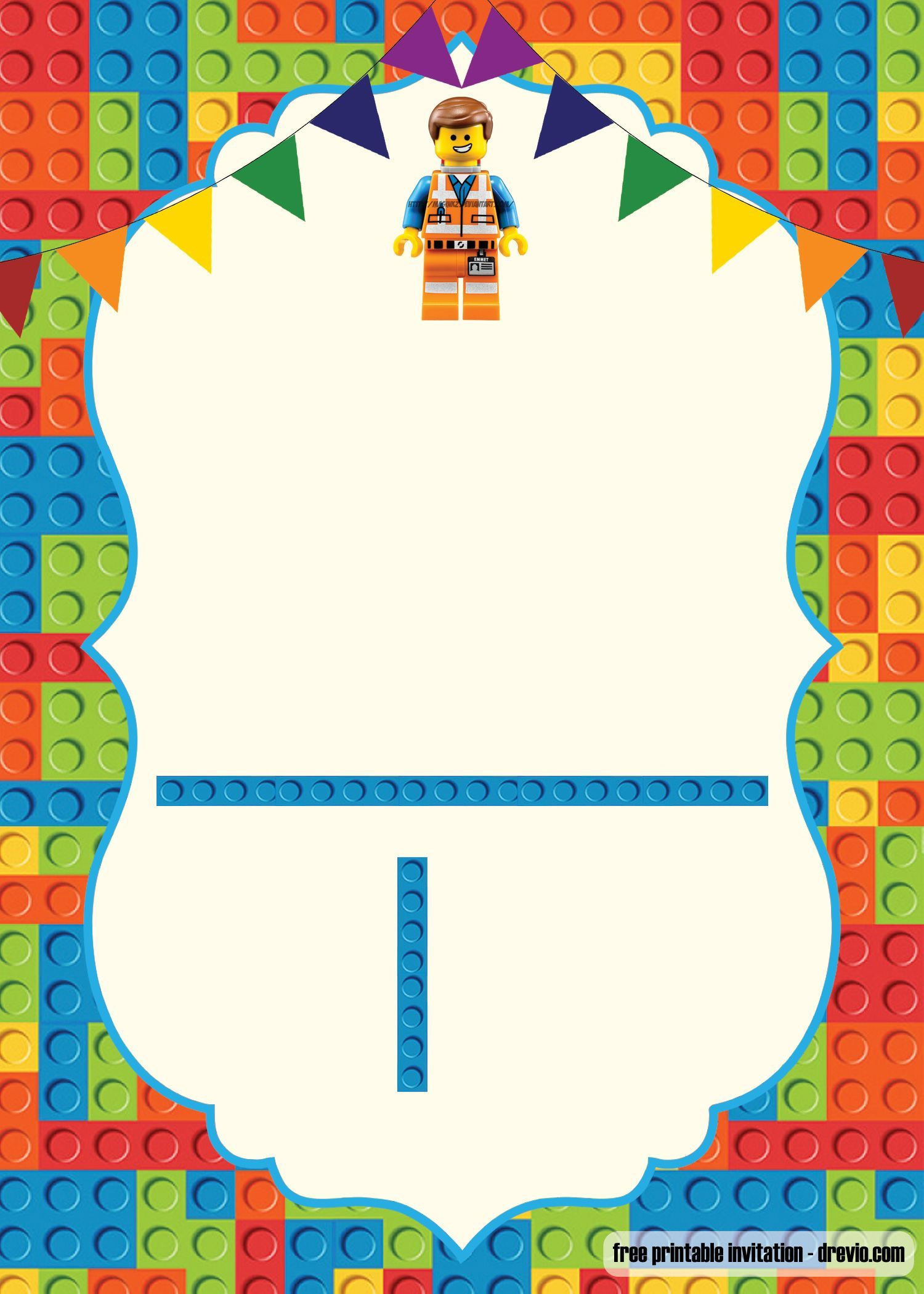 FREE Printable LEGO Birthday Invitation Template