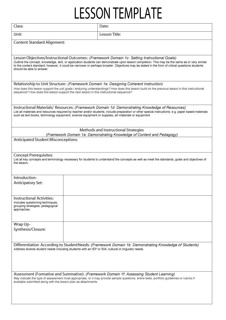 Free Lesson Plan Templates Word PDF Format Download