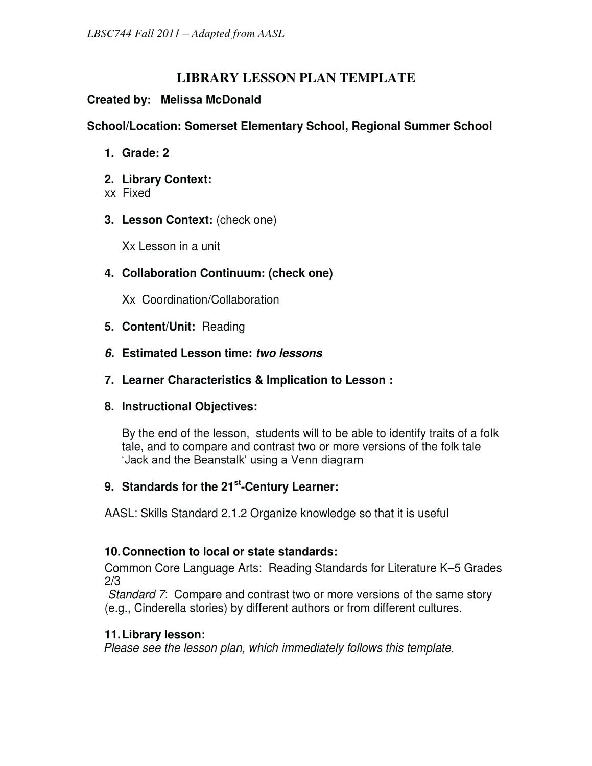 Library Lesson Plan Template