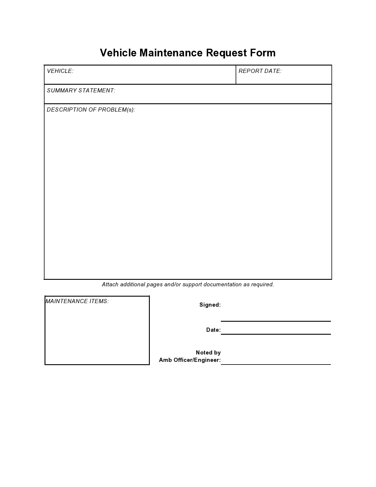 Maintenance Request form Template