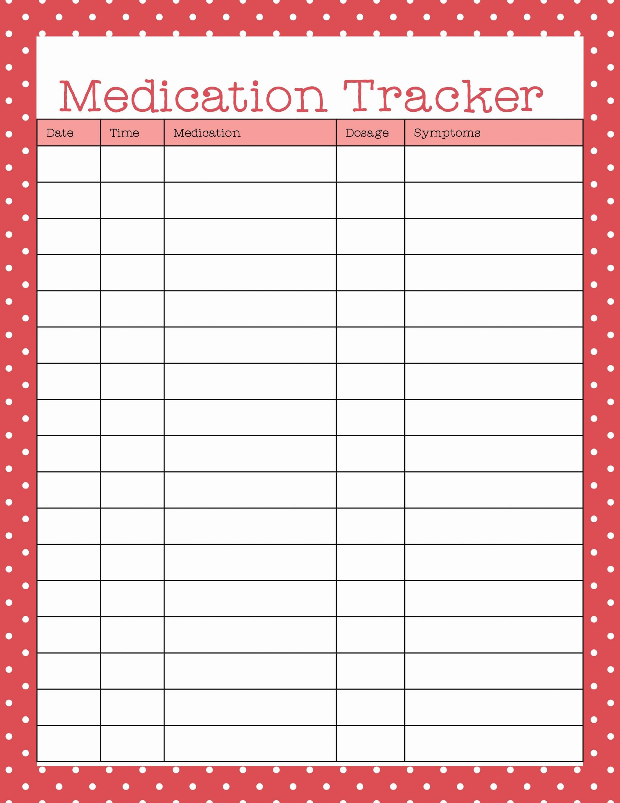Medication Schedule Template Excel